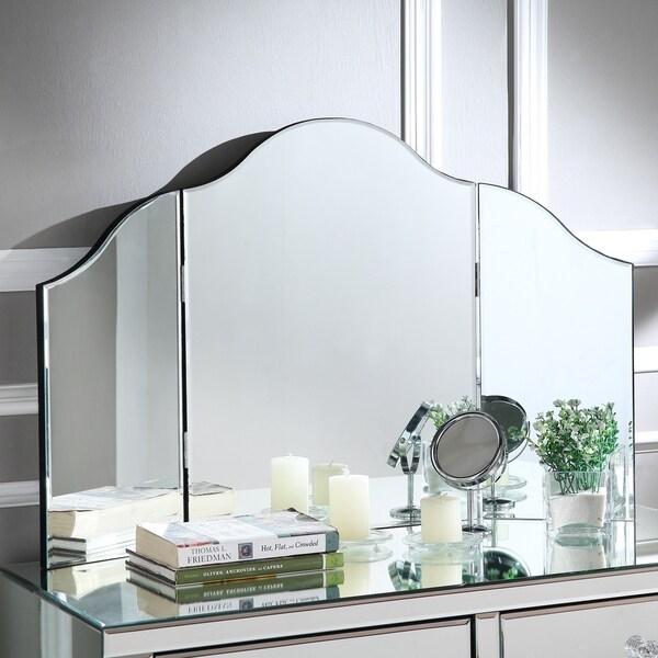 Hannah Frameless Modern Contemporary Tri Fold Tabletop Vanity Mirror