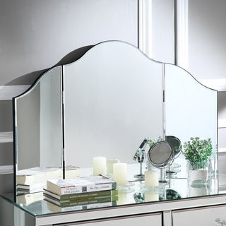 Hannah Frameless Modern Contemporary Tri-fold Tabletop Vanity Mirror