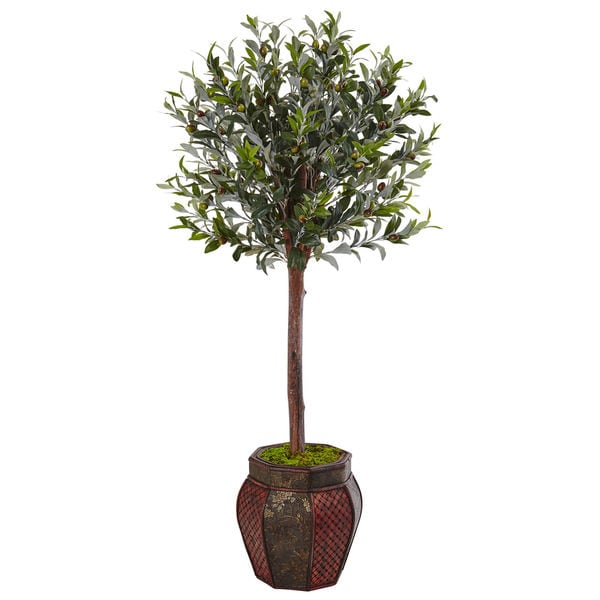 Nearly Natural 4 5-foot Olive Topiary Tree in Weave Panel Planter
