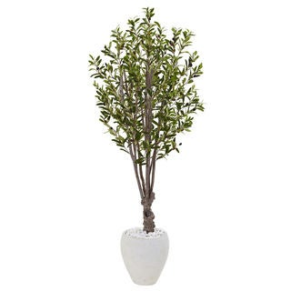 Nearly Natural 5-foot Olive Tree in White Oval Planter