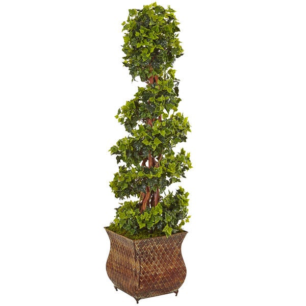 Nearly Natural Green 4-foot Indoor/Outdoor English Ivy Spiral Tree in Metal Planter