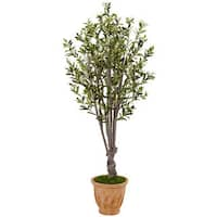 Nearly Natural Terracotta 5-foot Olive Tree Planter