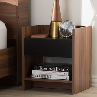 Modern Two-Tone Walnut and Black Wood 1-Drawer Nightstand by Baxton Studio