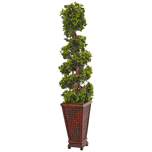 Nearly Natural 4.5 ft. English Ivy Tree in Decorative Wood Planter