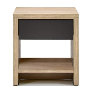 Modern Two-Tone Oak and Grey Wood 1-Drawer Nightstand by Baxton Studio