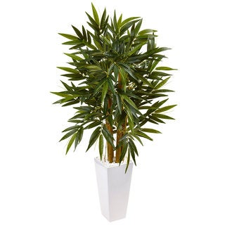 Nearly Natural White 4-foot Bamboo Tree Tower Planter