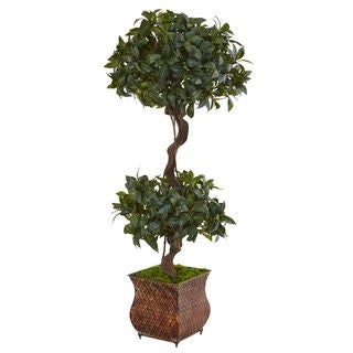 Nearly Natural 4.5-foot Sweet Bay Double Topiary Tree in Metal Planter