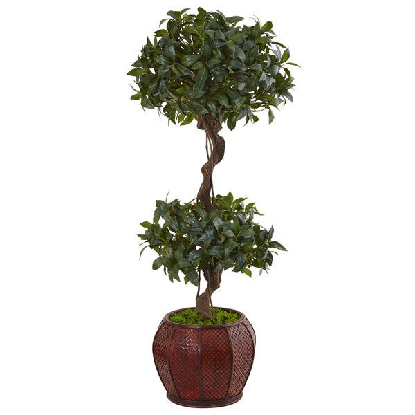 Nearly Natural Sweet Bay 4.5-foot Double Topiary Tree in Round Wood Planter. Opens flyout.