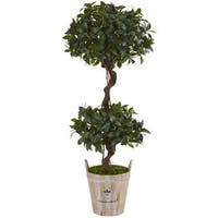 Nearly Natural Sweet Bay 4.5-foot Double Topiary Tree in Farmhouse Planter