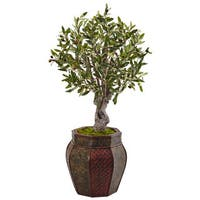 Nearly Natural 3-foot Olive Silk Tree in Weave Panel Planter