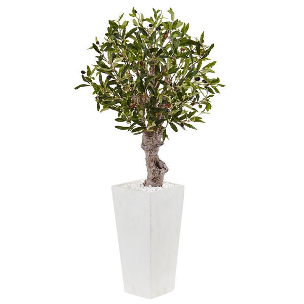 Nearly Natural 3.5-foot Olive Tree Silk Plant in White Tower Planter