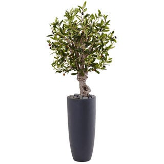 Nearly Natural 3.5-foot Olive Tree Silk Plant in Grey Cylinder Planter