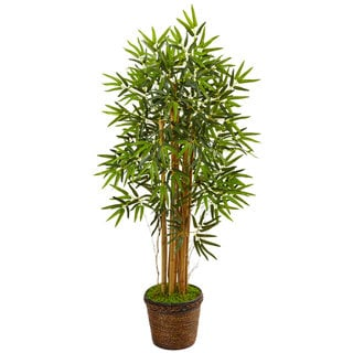 Nearly Natural 4.5-foot Bamboo Tree in Coiled Rope Planter