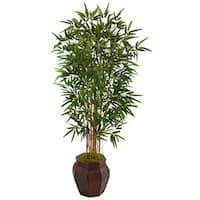 Nearly Natural Brown Weave 5-foot Bamboo Tree Planter