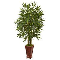 Nearly Natural 5.5-foot Silk Bamboo Tree in Decorative Wood Planter