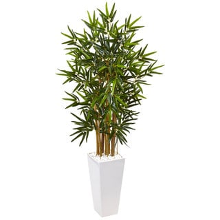 Nearly Natural 4-foot Bamboo Tree in White Tower Planter