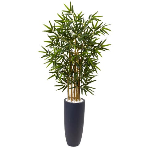 Nearly Natural Silk 4-foot Artificial Bamboo Tree in Grey Cylinder Planter