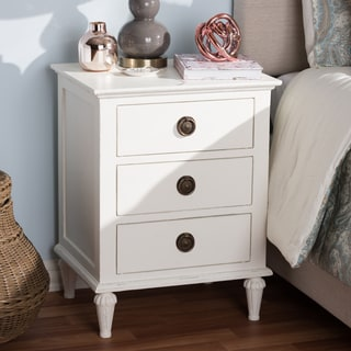 Rustic Wood 3-Drawer Nightstand by Baxton Studio