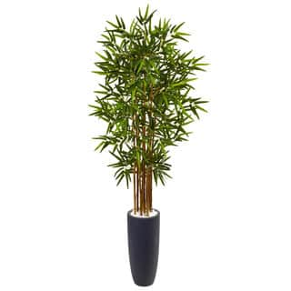 Nearly Natural 5-foot Bamboo Tree in Grey Cylinder Planter