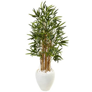 Nearly Natural Silk 4-foot Artificial Bamboo Tree in White Oval Planter