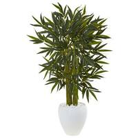 Nearly Natural Green Silk 4.5-foot Bamboo Tree in White Textured Oval Planter