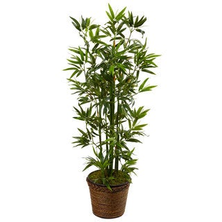 Nearly Natural 4-foot Bamboo Tree in Coiled Rope Planter