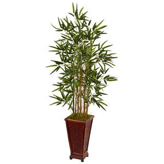Nearly Natural Brown 4.5-foot Bamboo Tree Decorative Planter