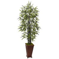 Nearly Natural Silk 5.5-foot Artificial Black Bamboo Tree in Decorative Planter