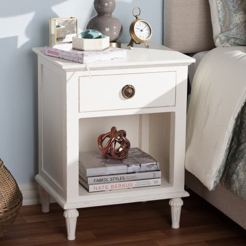 Rustic Wood 1-Drawer Nightstand by Baxton Studio