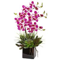 Nearly Natural Faux Orchid and Succulent Arrangement in Black Vase