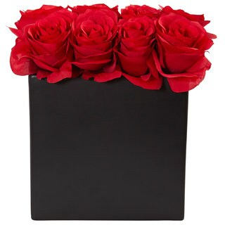 Nearly Natural Red Silk Roses Arrangement in Black Vase