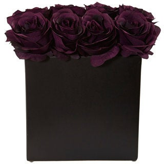 Nearly Natural Roses Silk Plant Arrangement in Black Vase