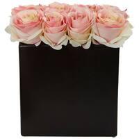 Nearly Natural Roses Arrangement in Black Vase
