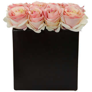 Nearly Natural Roses Arrangement in Black Vase