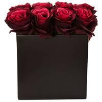 Nearly Natural Silk Roses Arrangement in Black Square Vase