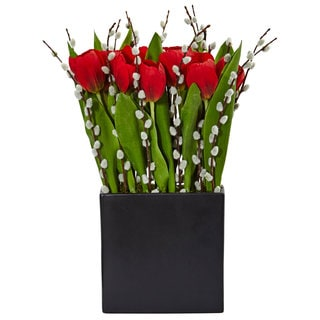 Nearly Natural Black Square Tulips and Willow Vase