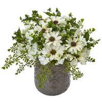 Nearly Natural Faux Daisy Bush in Grey Decorative Vase