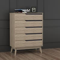 Mid-Century Two-Tone Oak and Grey Wood 5-Drawer Chest by Baxton Studio