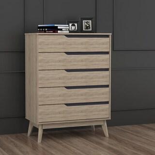 Carson Carrington Eskilstuna Mid-century Oak and Grey Wood 5-drawer Chest