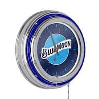 Blue Moon Chrome Double Rung Neon Clock