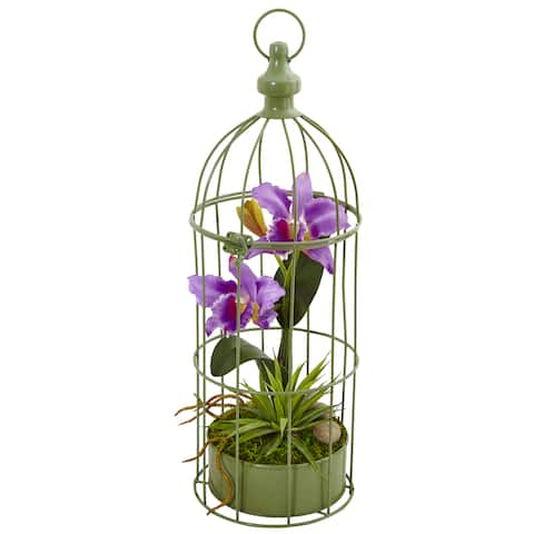 Nearly Natural Cattleya Orchid Arrangement in Bird Cage