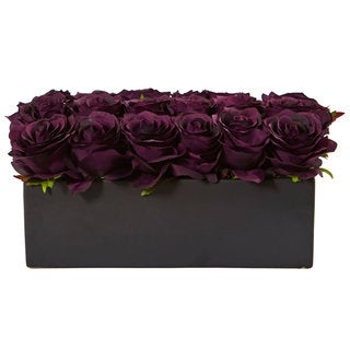 Nearly Natural Roses in Rectangular Planter