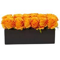 Nearly Natural Orange Silk Roses in Black Rectangular Planter
