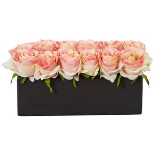 Nearly Natural Roses in Black Rectangular Planter