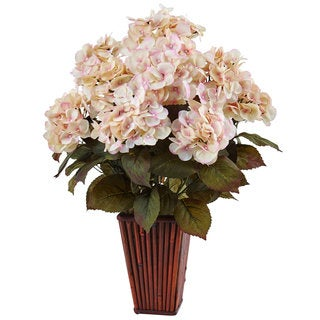 Nearly Natural Hydrangea in Bamboo Planter