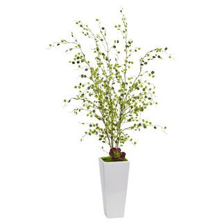 Nearly Natural Silk Artificial Night Willow in White Planter