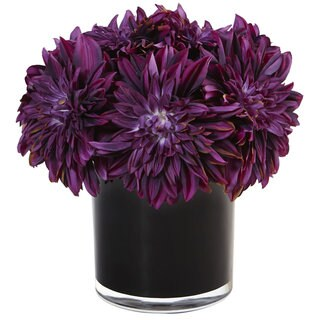 Nearly Natural Dahlia Mum in Black Glossy Cylinder