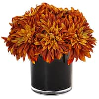 Nearly Natural Silk Artificial Dahlia Mum in Black Glossy Cylinder