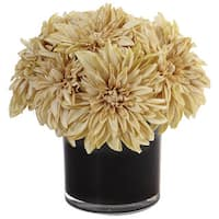 Nearly Natural Faux Dahlia Mum in Black Glossy Cylinder