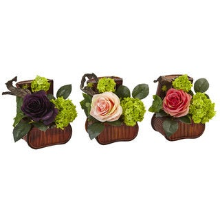 Nearly Natural Rose and Mini Green in Chest (Set of 3)